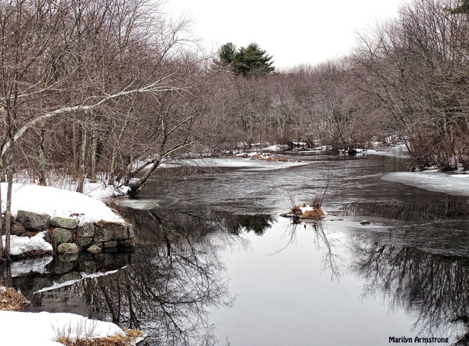 Reflections in a slightly frozen river. March 2015.