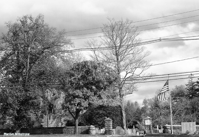 Downtown Revolutionary War Cemetery Uxbridge BW