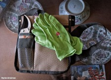 Green gardening gloves