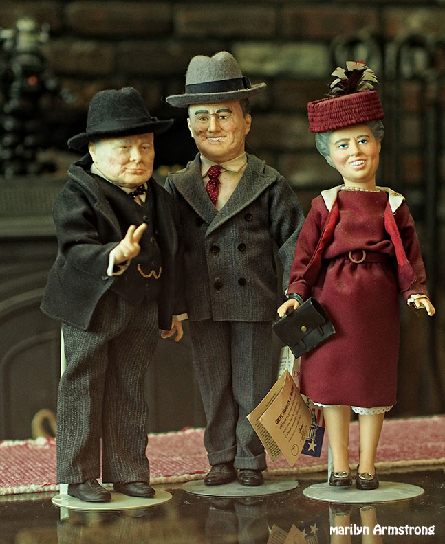 Eleanor with Franklin Roosevelt and Winston Churchill. World War II historical dolls from Effanbee.