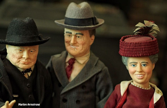 Winston Churchill, FDR, and Eleanor Roosevelt. Great moments in history from Effanbee, 1985.