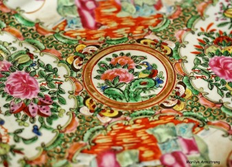typical famille rose pattern dish