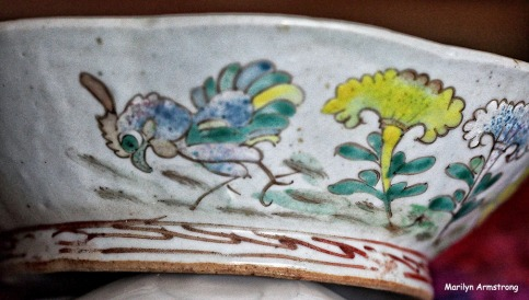Qing dynasty rice bowl, typically used by field workers. The blue chicken is a cultural thing. The bowl is almost 200 years old -- and it isn't even close to my oldest pieces of pottery.