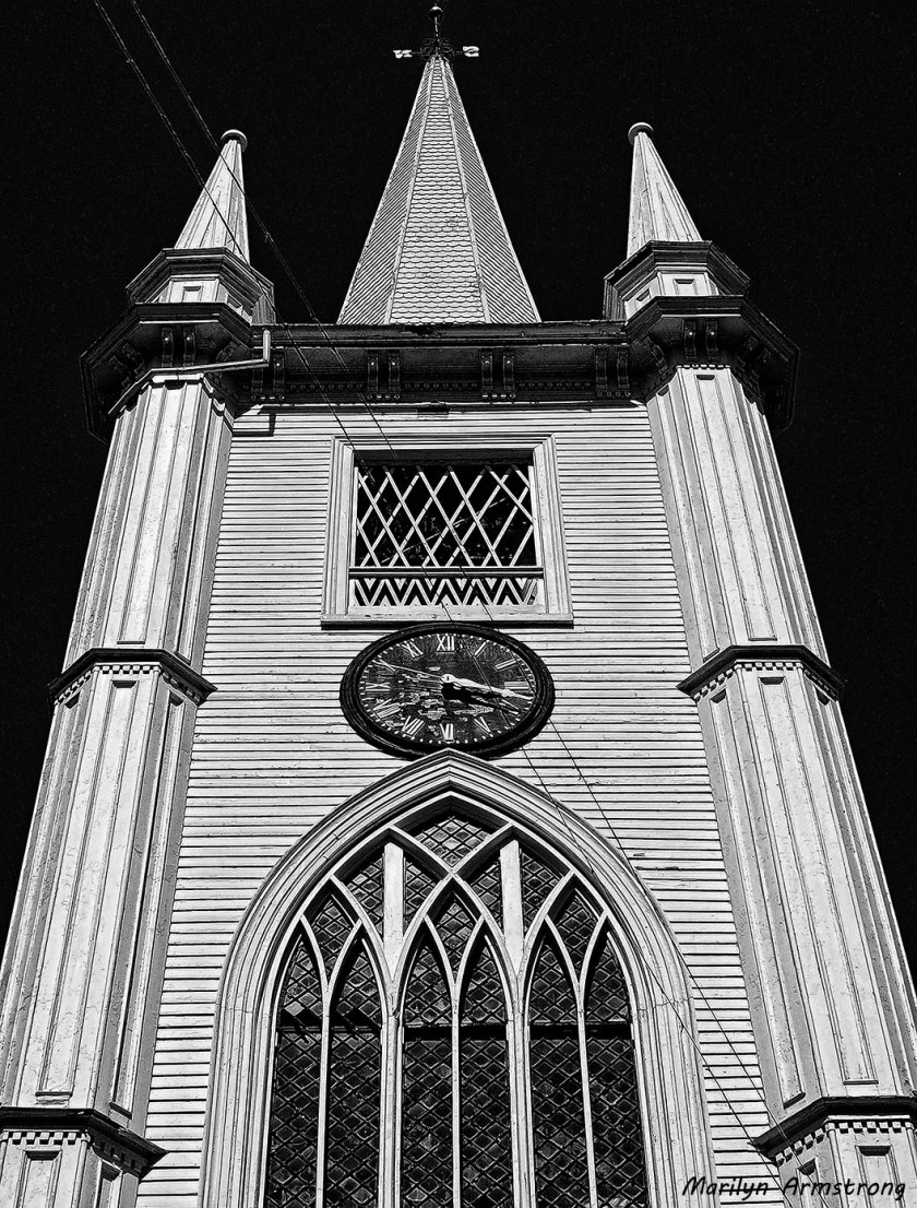 White wood steeple of the old -- not abandoned - Unitarian Church