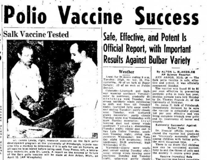 Polio-salk-vaccine newspaper
