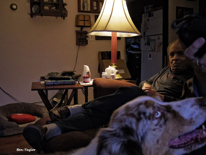 Garry with dogs and me at home. Photo by Ben Taylor