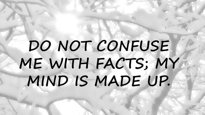 DO NOT CONFUSE ME WITH FACTS
