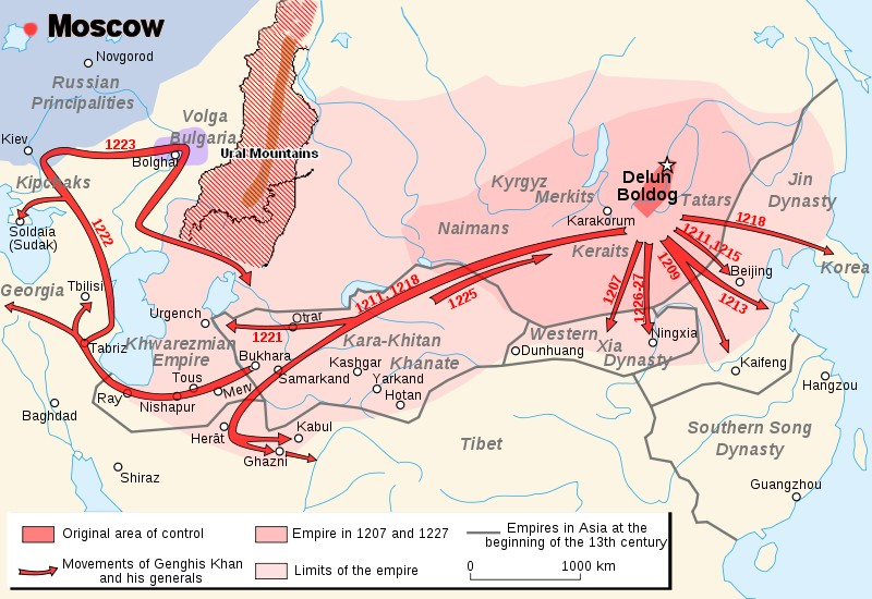 map of mongol invasion paths