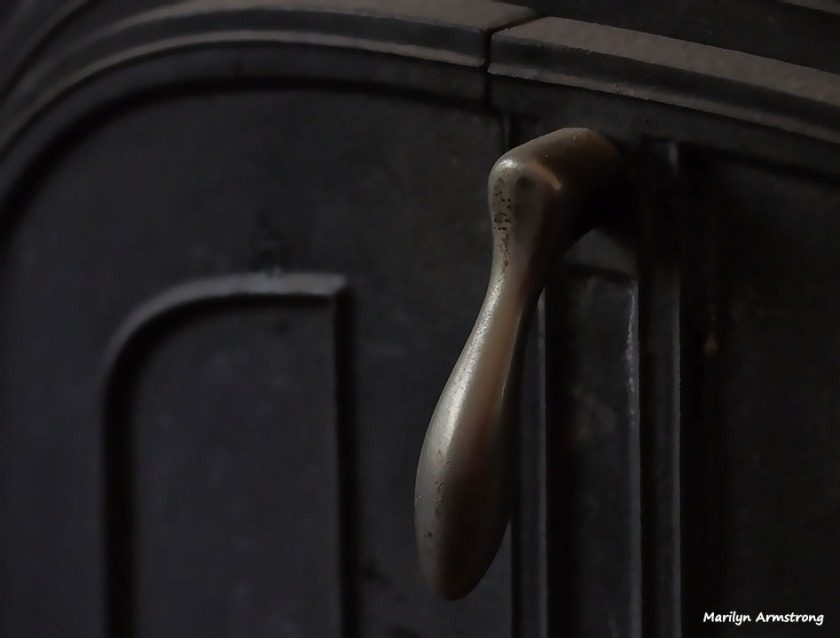 Opening handle for the old wood stove