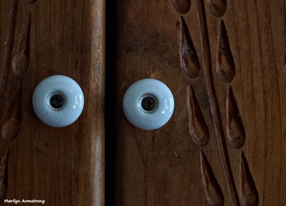 The kitchen cupboard looks back at you ...