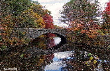 Stone bridge over the river and canal in Autumn