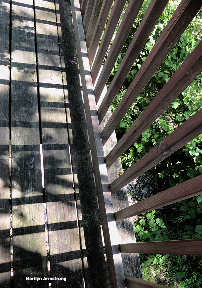 Looking down at the deck shadows is a bit dizzying