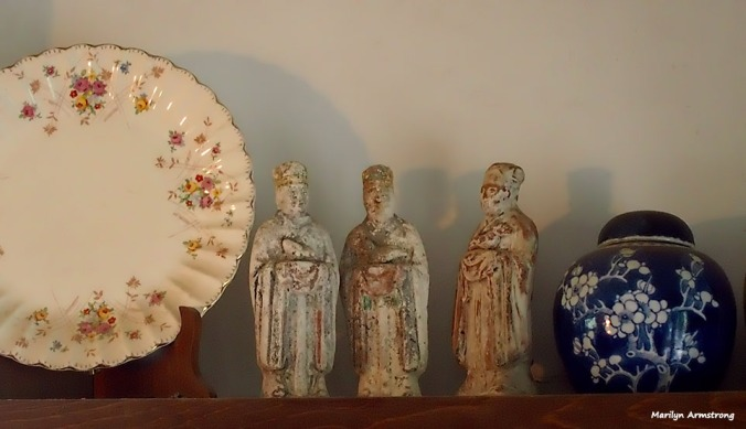 Three very old (Song or Tang) Chinese astrological figures, one old English floral plate, and a small Chinese 19th century ginger jar. The ginger jar might be older, but it's old enough. I just like it.