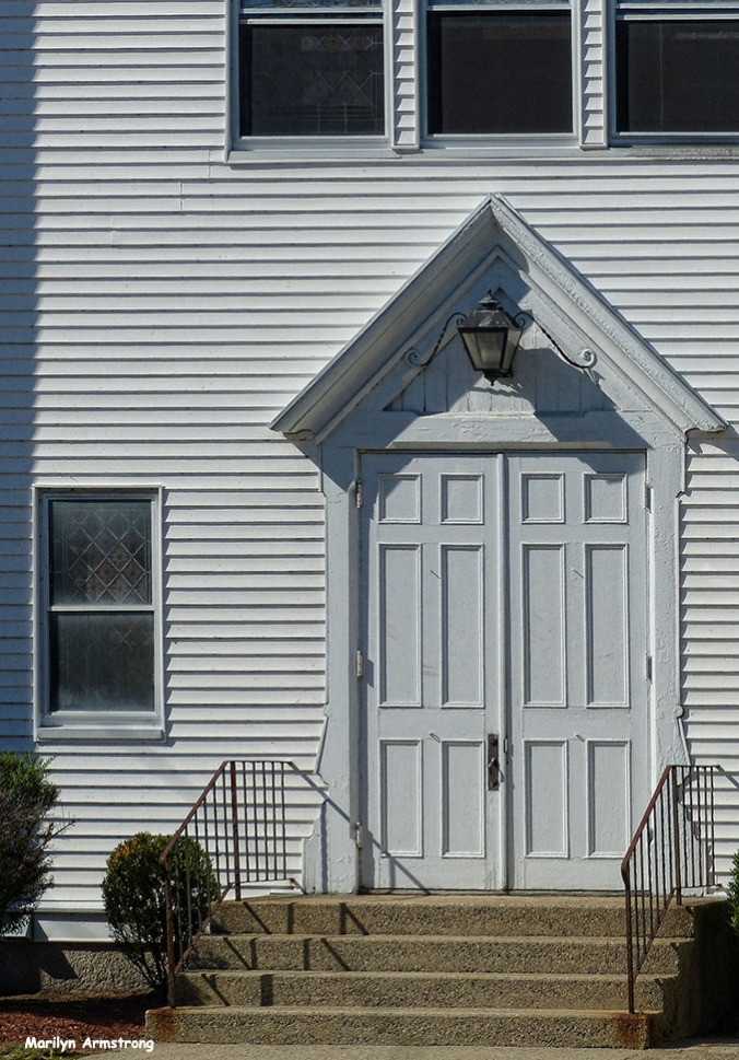 The door of the Baptist Church on the north end of town.