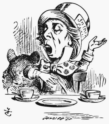 """The Mad Hatter reciting """"Twinke, twinkle Little Bat,"""" as illustrated by John Tenniel"""