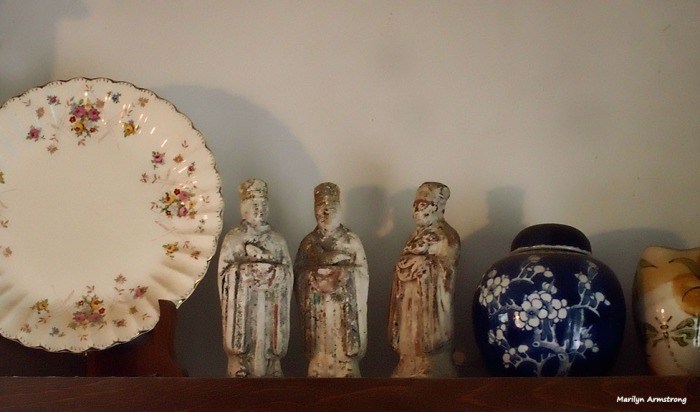 One old English china plate. Three very old Chinese porcelain astrological figures, and one old Chinese porcelain ginger jar.
