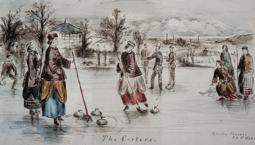 A curling match at Eglinton Castle, Ayrshire, Scotland in 1860. The curling house is located to the left of the picture. Roger Griffith - Archival. Public Domain: 2 Feb 1860