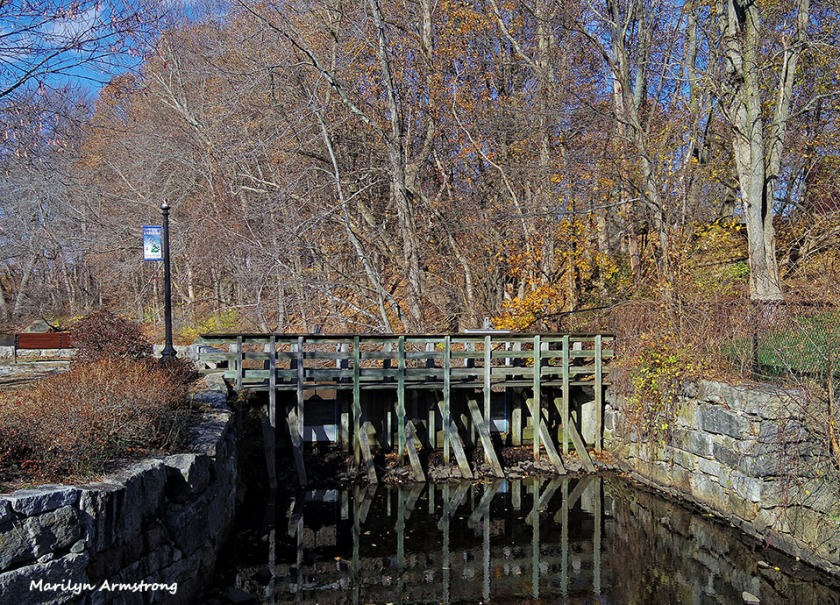 Little canal along the Mumford, a Blackstone River tributary. Uxbridge, Massachusetts.