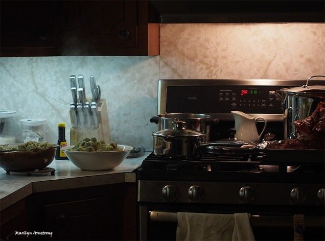 stove and kitchen counter