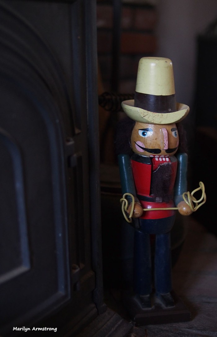 A cowboy nutcracker guards the fortress