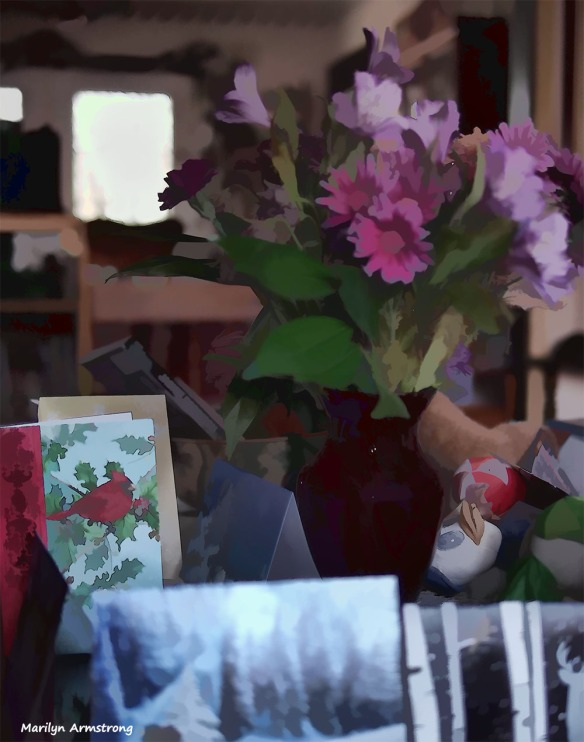 Flowers and cards on the table