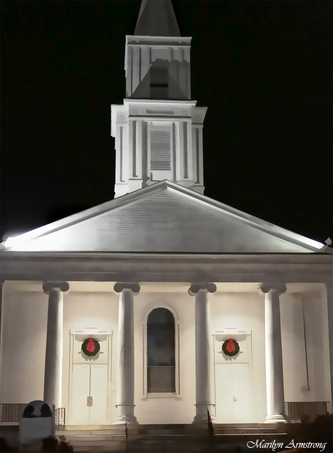 Evangelical church on the common after dark in December