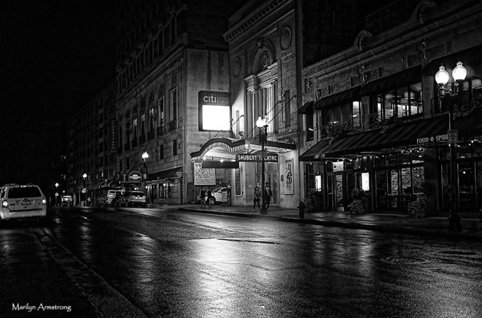 Schubert Theater, Boston, night