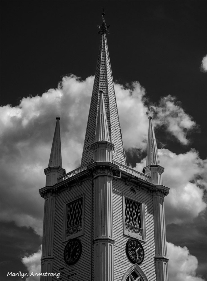 Spire atop the steeple of the abandoned church on the Common