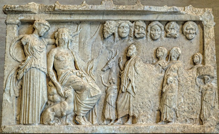 The faces of comedy, tragedy and more in an ancient relief