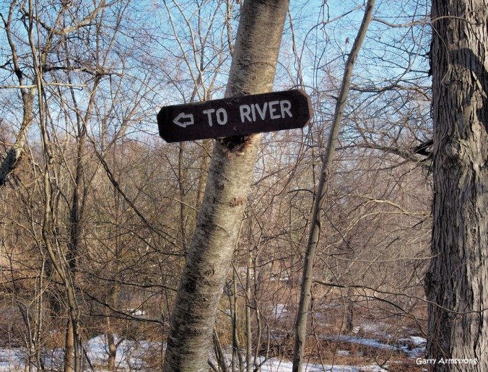 In case you aren't sure, follow the sign. There's a river there!