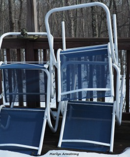 Discounting the deck, the chairs are metal and fabric. Two parts, one chair.