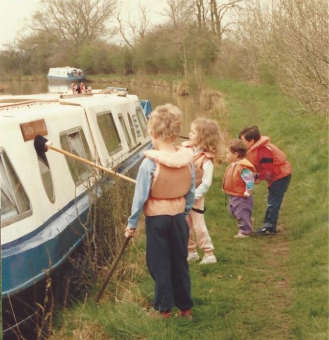 Kids washing the boat