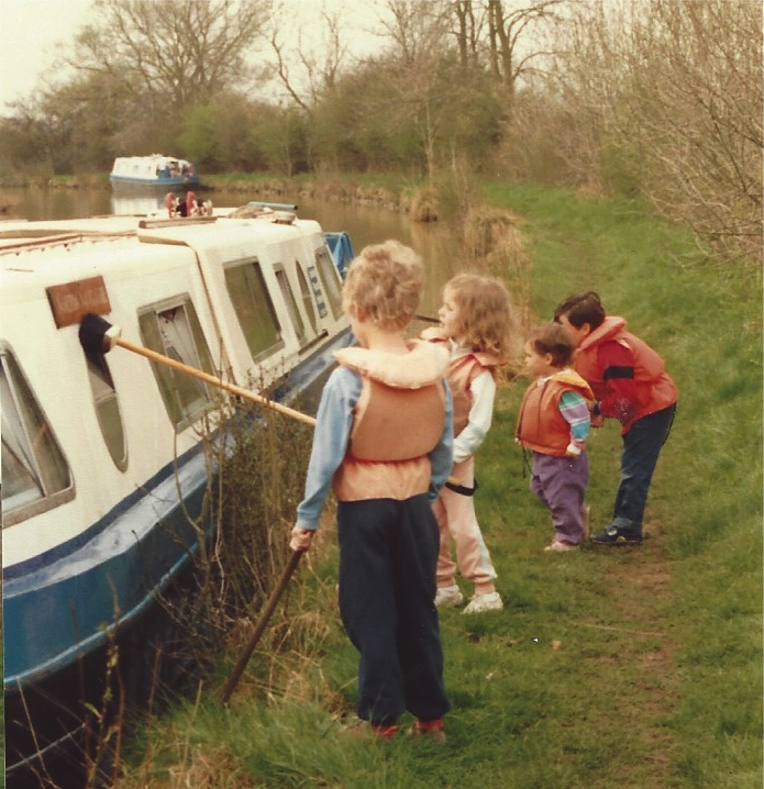 Kids washing the boat