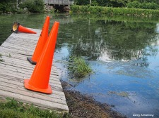 Photo: Garry Armstrong - Orange cones intrude on an idyllic setting by the river