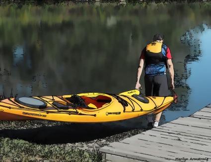 Yellow kayak on the Blackstone