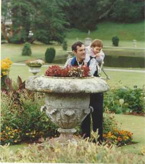 Larry and Sarah in a formal garden in Wales, 1986