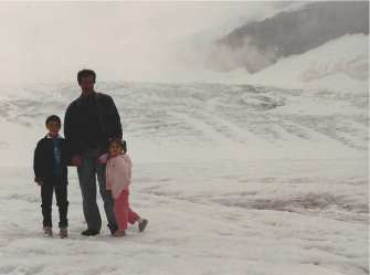 Larry and the kids on a glacier, 1989