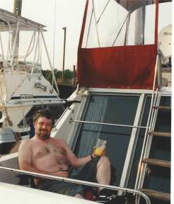 Tom on our first boat
