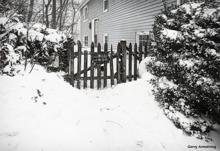A lot of snow and the front gate - Photo: Garry Armstrong