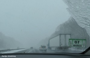 On the road in sleet