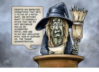 not a witch political cartoon