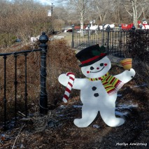 A snow guy along the Mumford dam in downtown Uxbridge