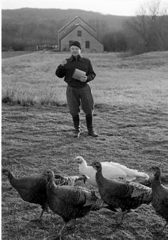 James Cagney with chickens