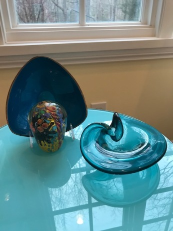 Two beautiful mid-century modern candy dishes