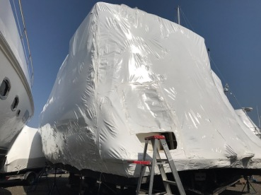 Shrink wrapped stern of the boat