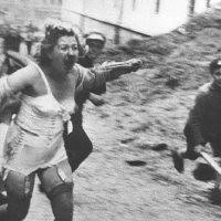Woman fleeing from Pogrom