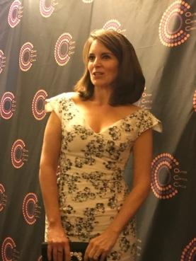 Tina Fey talking to the press