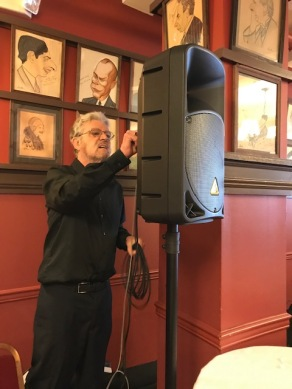 Tom hooking up one of the speakers