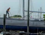 Cleaning the boat