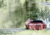 Red kayak by the Blackstone